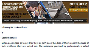 Glossary for Locksmith in La Canada Flintridge  - Click here to download